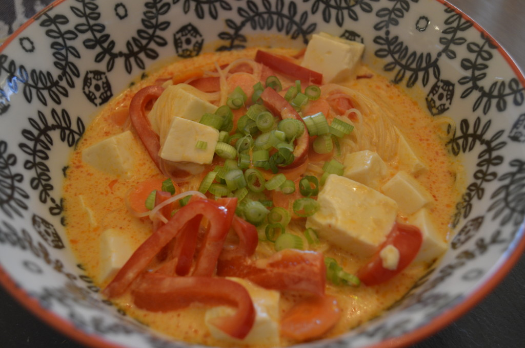 ... up with a recipe for a coconut curry soup after my mom told me about