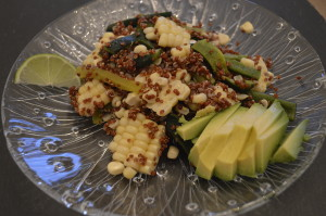 Corn and Roasted Pepper Quinoa Salad With Lime Dressing