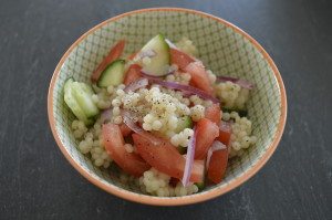 Israeli Couscous with Tomato and Cucumber