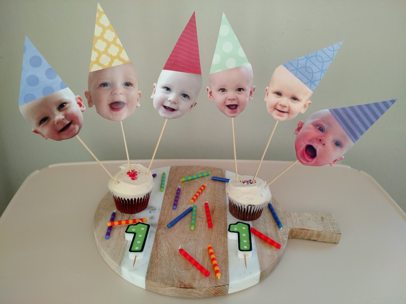 Baby Twins First Birthday Cake Toppers