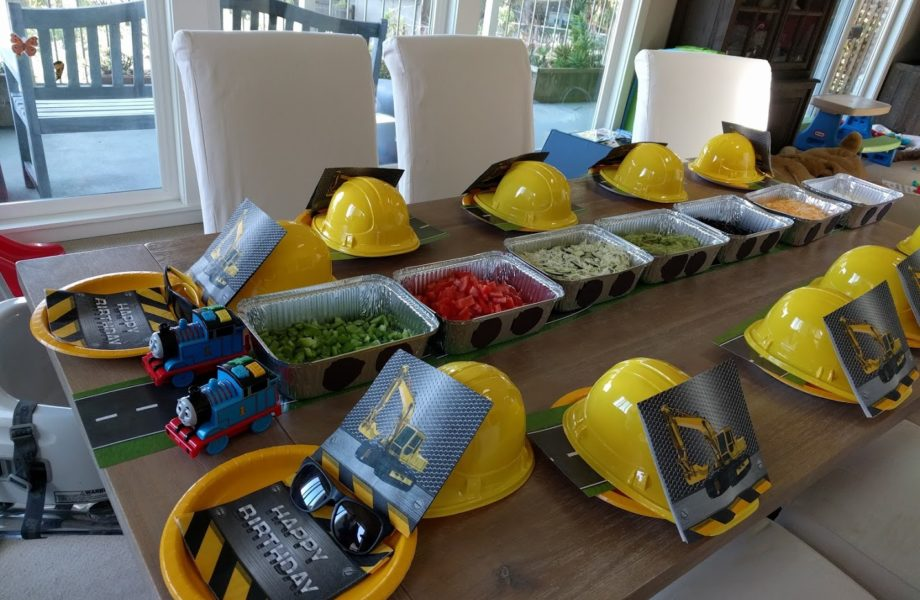 train and construction themed birthday table